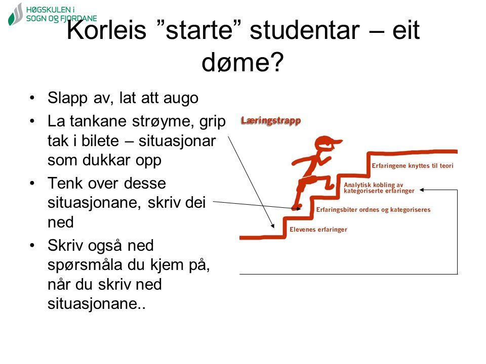 """Korleis """"starte"""" studentar – eit døme? Slapp av, lat att augo La tankane strøyme, grip tak i bilete – situasjonar som dukkar opp Tenk over desse situa"""