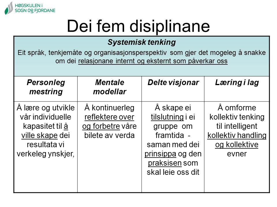 Dei fem disiplinane Systemisk tenking Eit språk, tenkjemåte og organisasjonsperspektiv som gjer det mogeleg å snakke om dei relasjonane internt og eks