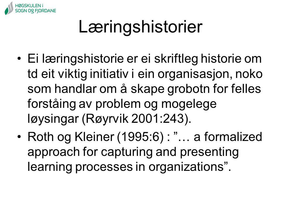 Læringshistorier Ei læringshistorie er ei skriftleg historie om td eit viktig initiativ i ein organisasjon, noko som handlar om å skape grobotn for fe
