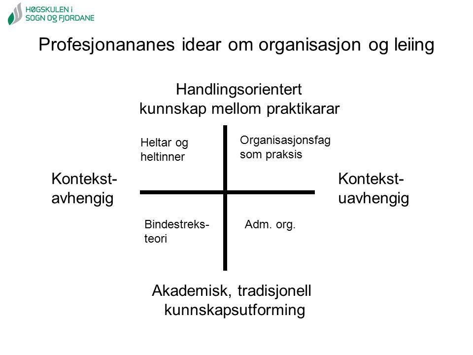 Akademisk, tradisjonell kunnskapsutforming Handlingsorientert kunnskap mellom praktikarar Kontekst- avhengig Kontekst- uavhengig Profesjonananes idear