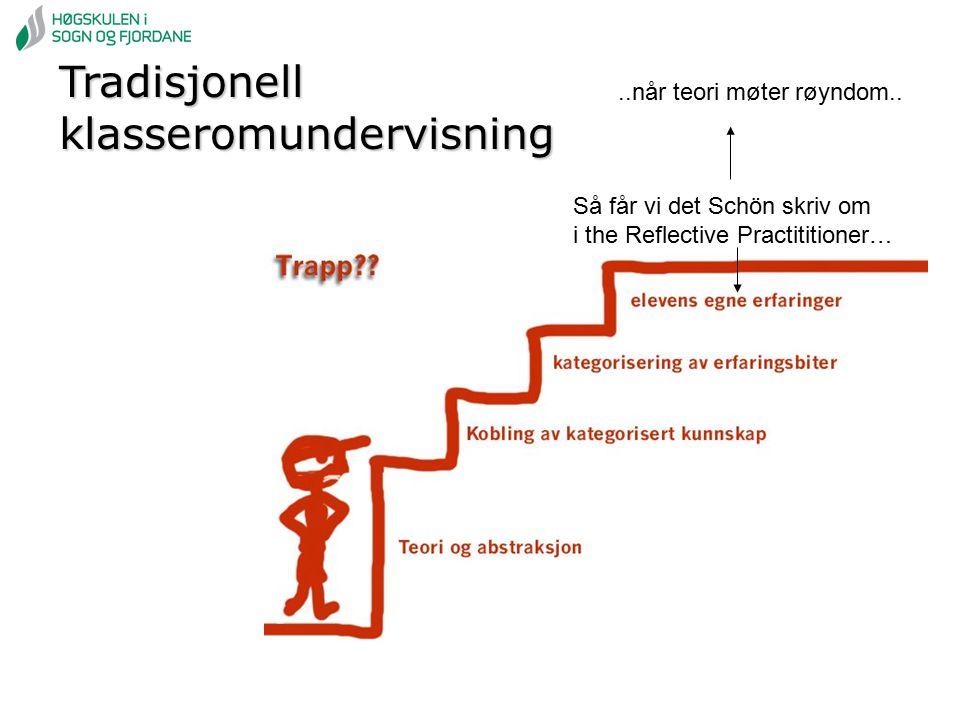 Tradisjonell klasseromundervisning Så får vi det Schön skriv om i the Reflective Practititioner…..når teori møter røyndom..