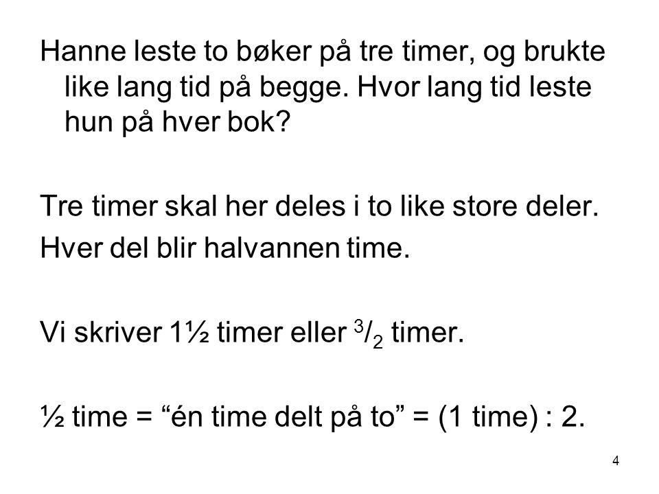 15 Likeverdige/ekvivalente brøker To brøker som representerer det samme tallet er likeverdige eller ekvivalente.
