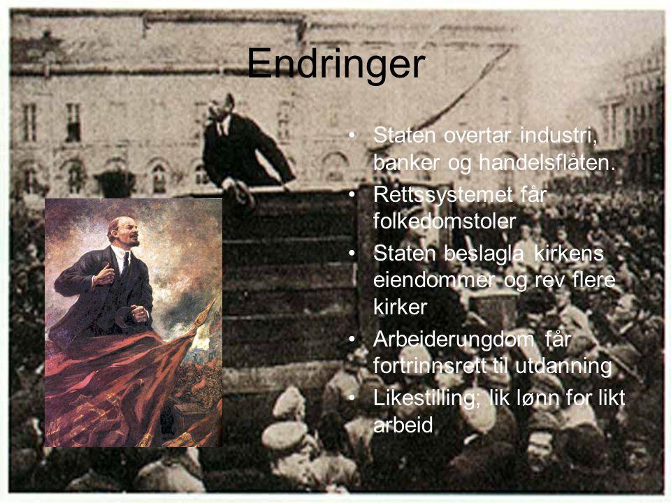Sultkatastrofen i 1921 Ødeleggelser under borgerkrigen Dårlig vær og dårlige jordforhold Lav effektivitet i jordbruksproduksjonen Lenin ser problemet, infører NEP Ta ett skritt tilbake for å ta to skritt frem senere