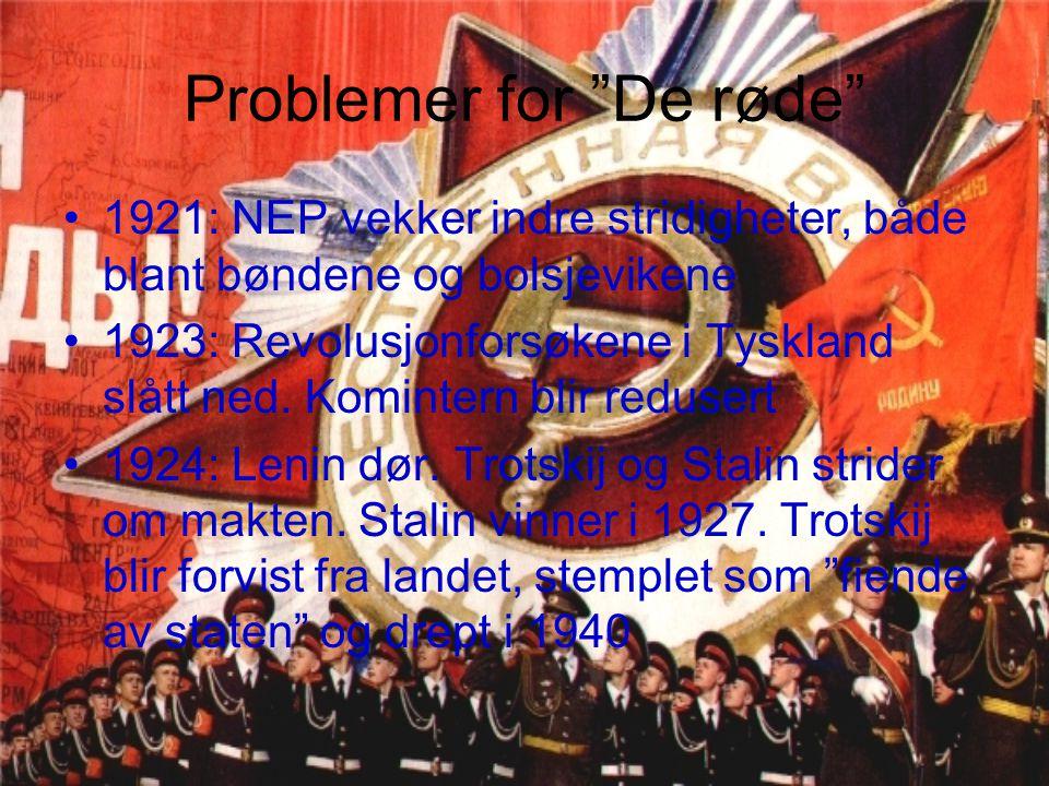 """Problemer for """"De røde"""" 1921: NEP vekker indre stridigheter, både blant bøndene og bolsjevikene 1923: Revolusjonforsøkene i Tyskland slått ned. Komint"""