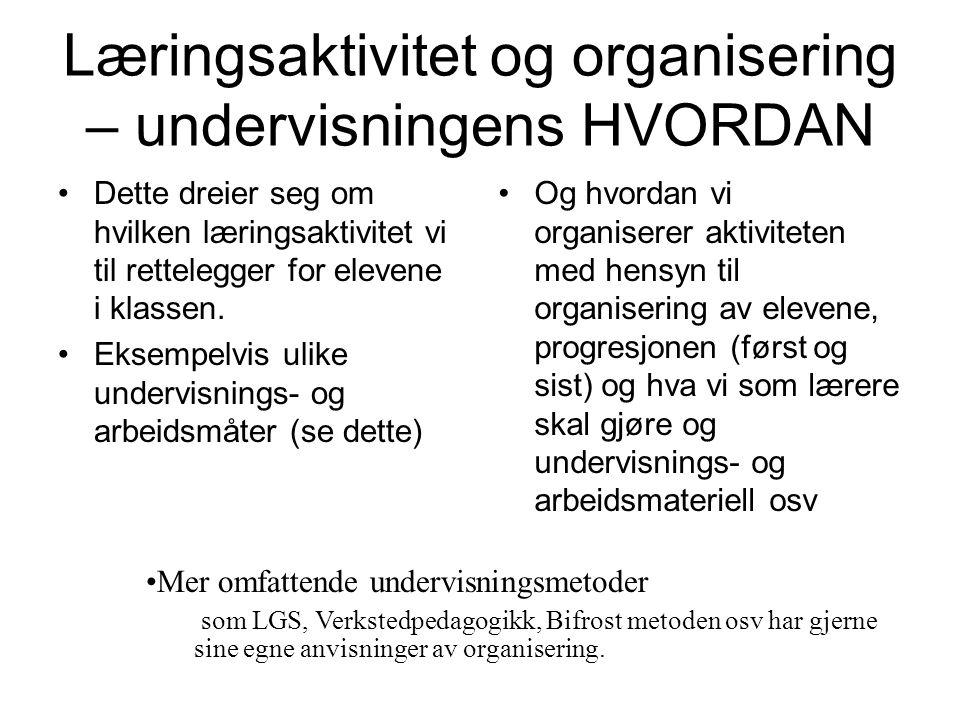 Læringsaktivitet og organisering – undervisningens HVORDAN Dette dreier seg om hvilken læringsaktivitet vi til rettelegger for elevene i klassen. Ekse