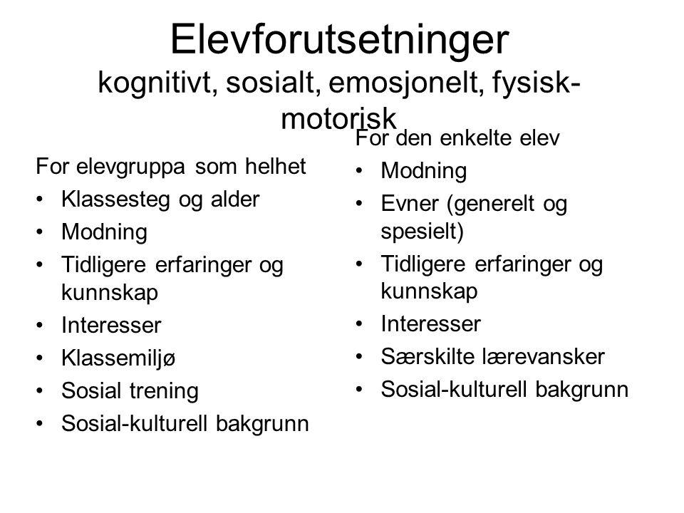 Elevforutsetninger kognitivt, sosialt, emosjonelt, fysisk- motorisk For elevgruppa som helhet Klassesteg og alder Modning Tidligere erfaringer og kunn
