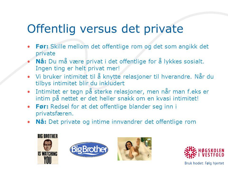 Offentlig versus det private Før: Skille mellom det offentlige rom og det som angikk det private Nå: Du må være privat i det offentlige for å lykkes s