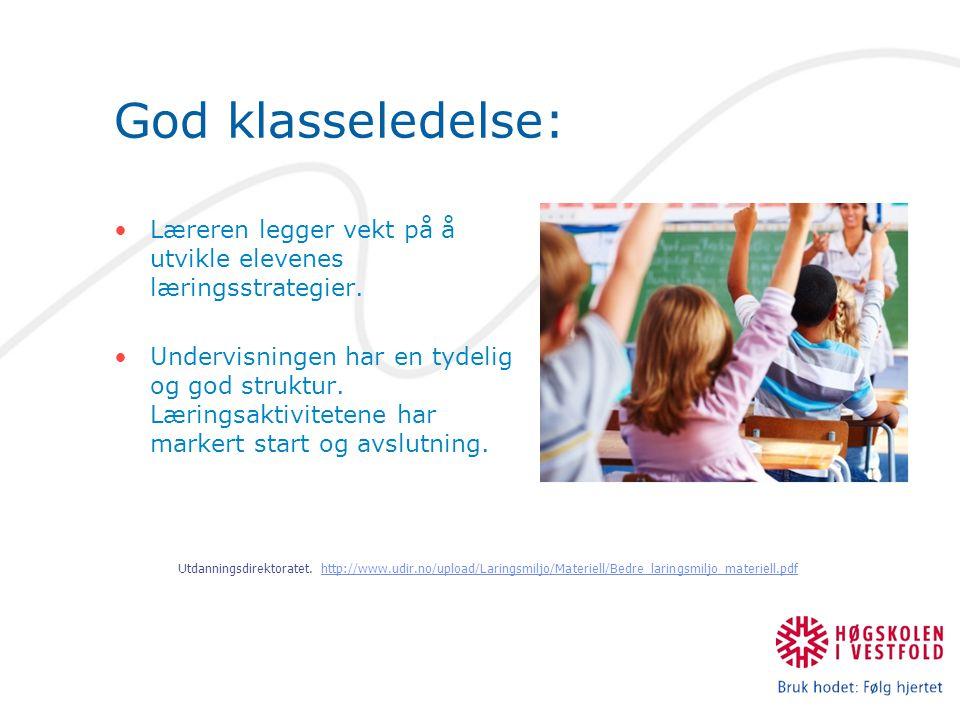 God klasseledelse: Læreren legger vekt på å utvikle elevenes læringsstrategier. Undervisningen har en tydelig og god struktur. Læringsaktivitetene har