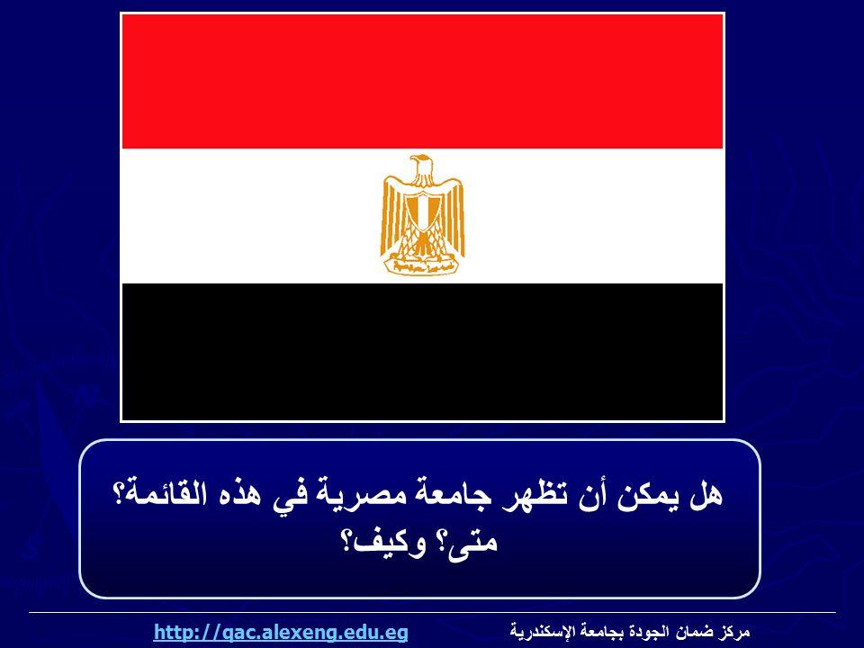 هل يمكن أن تظهر جامعة مصرية في هذه القائمة؟ متى؟ وكيف؟ مركز ضمان الجودة بجامعة الإسكندرية http://qac.alexeng.edu.eghttp://qac.alexeng.edu.eg