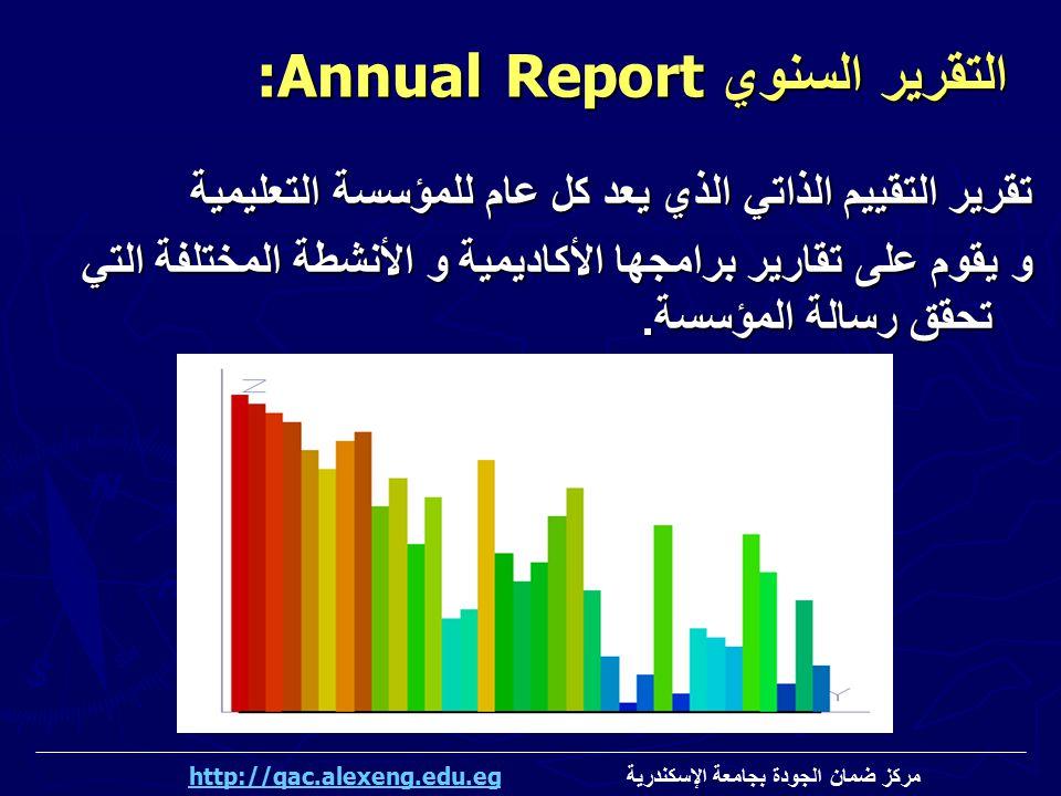 تقرير التقييم الذاتي الذي يعد كل عام للمؤسسة التعليمية و يقوم على تقارير برامجها الأكاديمية و الأنشطة المختلفة التي تحقق رسالة المؤسسة. التقرير السنوي