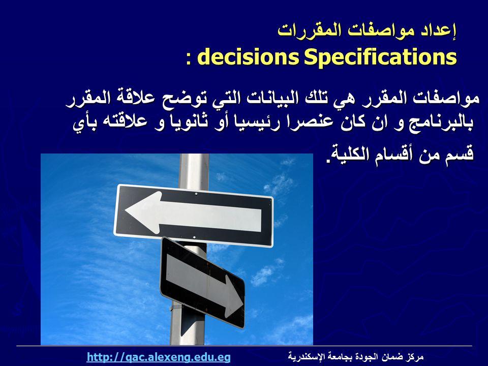 مواصفات المقرر هي تلك البيانات التي توضح علاقة المقرر بالبرنامج و ان كان عنصرا رئيسيا أو ثانويا و علاقته بأي قسم من أقسام الكلية. مواصفات المقرر هي تل