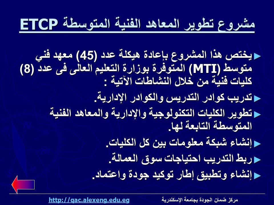 مشروع تطوير المعاهد الفنية المتوسطة ETCP ► يختص هذا المشروع بإعادة هيكلة عدد (45) معهد فني متوسط (MTI) المتوفرة بوزارة التعليم العالى فى عدد (8) كليات