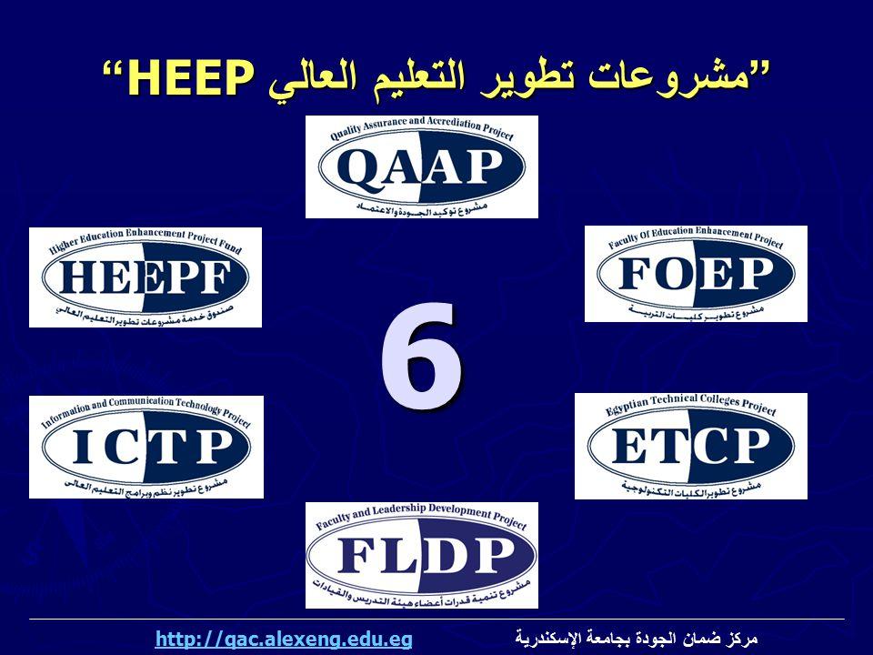 """""""مشروعات تطوير التعليم العالي HEEP """" 6 مركز ضمان الجودة بجامعة الإسكندرية http://qac.alexeng.edu.eghttp://qac.alexeng.edu.eg"""