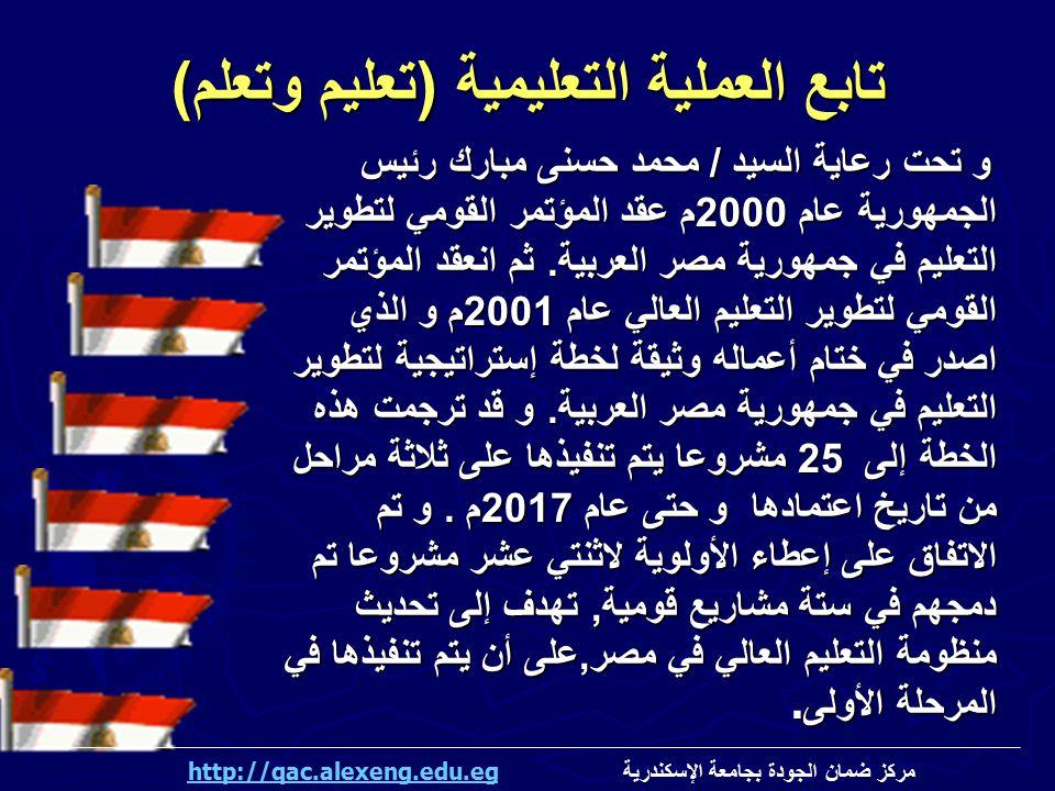 تابع العملية التعليمية ( تعليم وتعلم ) و تحت رعاية السيد / محمد حسنى مبارك رئيس الجمهورية عام 2000 م عقد المؤتمر القومي لتطوير التعليم في جمهورية مصر