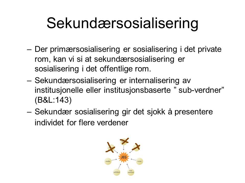 Sekundærsosialisering –Der primærsosialisering er sosialisering i det private rom, kan vi si at sekundærsosialisering er sosialisering i det offentlige rom.