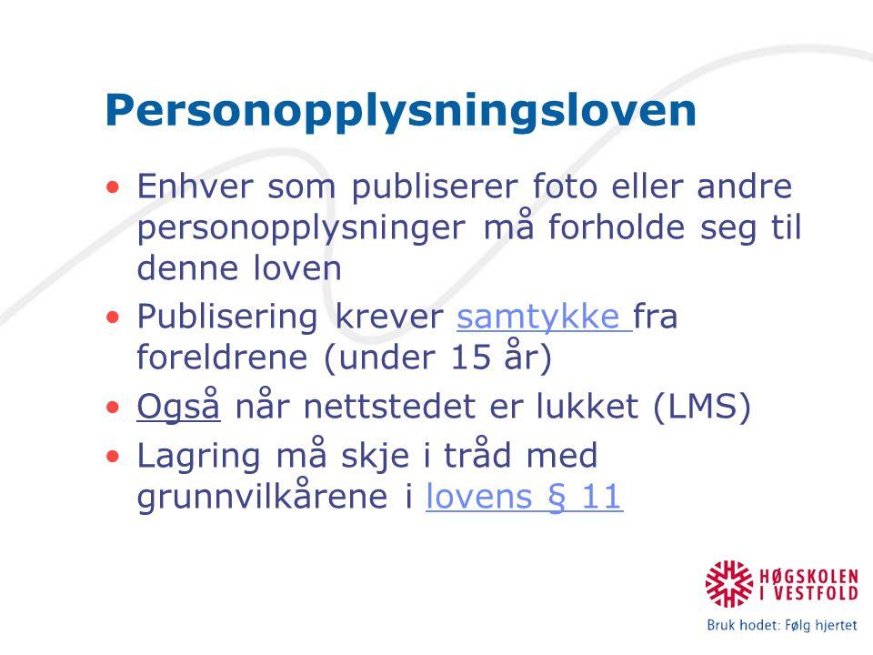 Personopplysningsloven Enhver som publiserer foto eller andre personopplysninger må forholde seg til denne loven Publisering krever samtykke fra forel