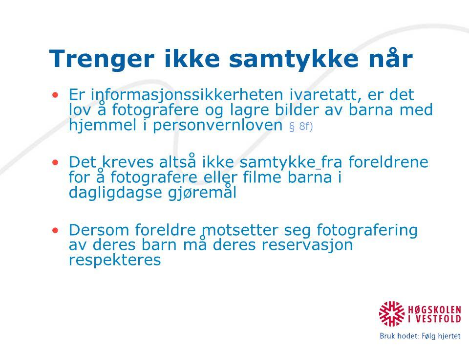 Trenger ikke samtykke når Er informasjonssikkerheten ivaretatt, er det lov å fotografere og lagre bilder av barna med hjemmel i personvernloven § 8f)