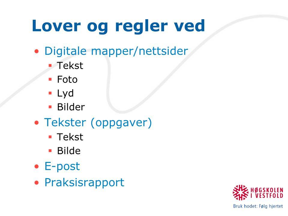 Lover og regler ved Digitale mapper/nettsider  Tekst  Foto  Lyd  Bilder Tekster (oppgaver)  Tekst  Bilde E-post Praksisrapport