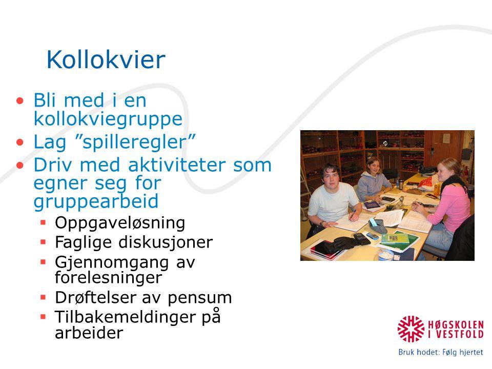 Kollokvier Bli med i en kollokviegruppe Lag spilleregler Driv med aktiviteter som egner seg for gruppearbeid  Oppgaveløsning  Faglige diskusjoner  Gjennomgang av forelesninger  Drøftelser av pensum  Tilbakemeldinger på arbeider