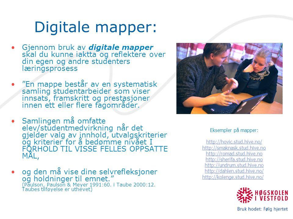 Digitale mapper: Gjennom bruk av digitale mapper skal du kunne iaktta og reflektere over din egen og andre studenters læringsprosess En mappe består av en systematisk samling studentarbeider som viser innsats, framskritt og prestasjoner innen ett eller flere fagområder.