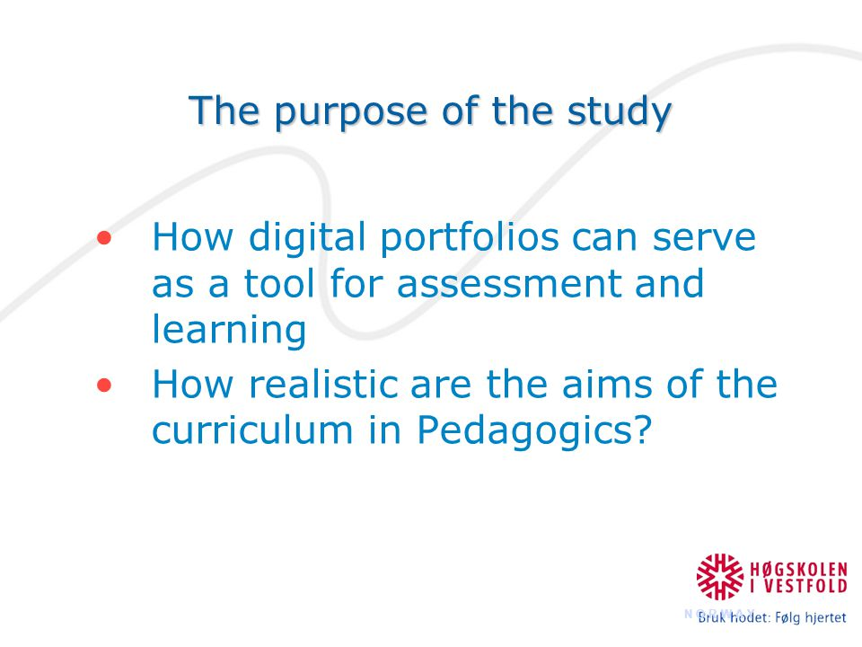 The process portfolio The digital collection of the work during the term Guidance from teacher and peer students The presentation portfolio A selection from the process portfolio Final assessment from teachers External examinators