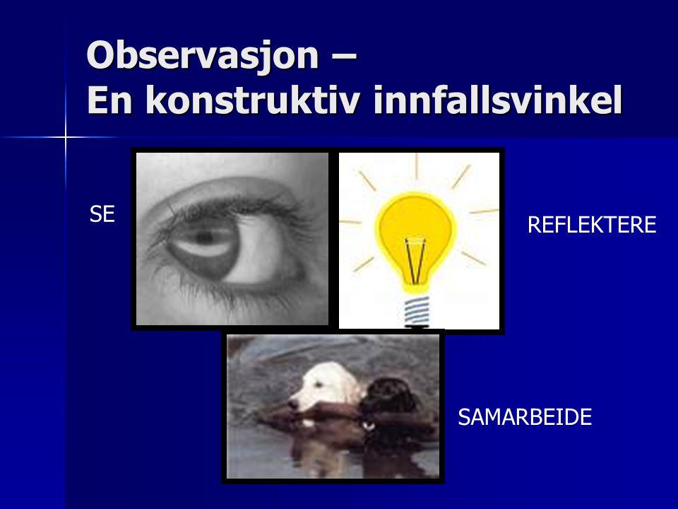 Observasjon – En konstruktiv innfallsvinkel SE REFLEKTERE SAMARBEIDE