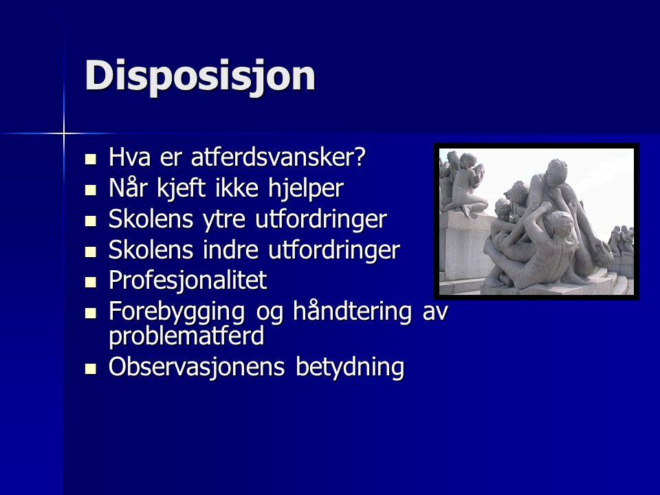 Disposisjon Hva er atferdsvansker? Hva er atferdsvansker? Når kjeft ikke hjelper Når kjeft ikke hjelper Skolens ytre utfordringer Skolens ytre utfordr