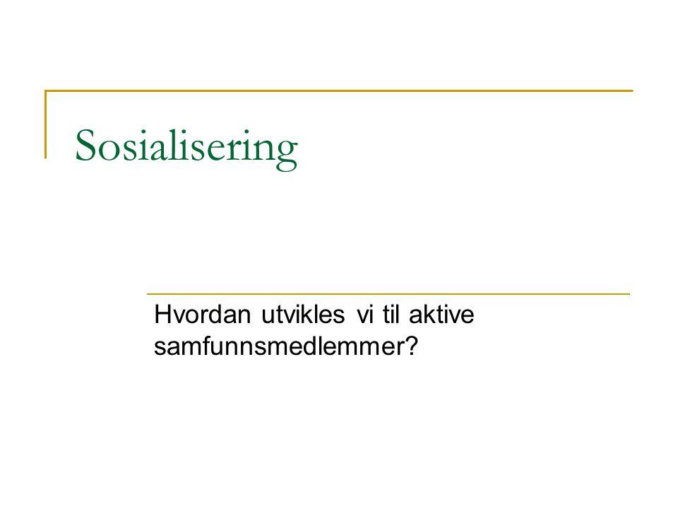 Sosialisering Hvordan utvikles vi til aktive samfunnsmedlemmer?