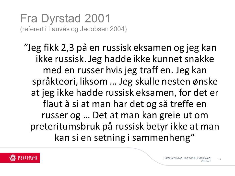 Fra Dyrstad 2001 (referert i Lauvås og Jacobsen 2004) Camilla Wiig og Line Wittek, Høgskolen i Vestfold 11 Jeg fikk 2,3 på en russisk eksamen og jeg kan ikke russisk.