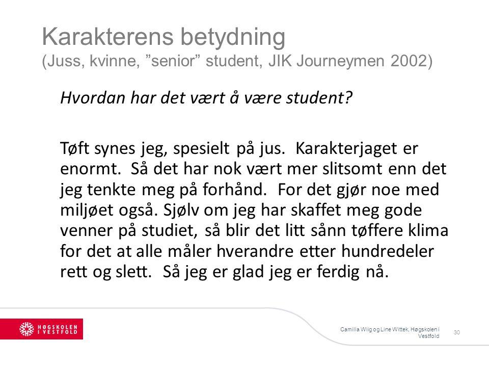 Karakterens betydning (Juss, kvinne, senior student, JIK Journeymen 2002) Camilla Wiig og Line Wittek, Høgskolen i Vestfold 30 Hvordan har det vært å være student.