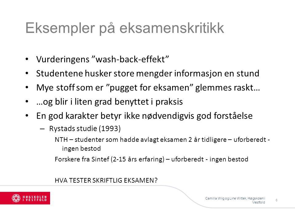 Ulike referanser for summativ vurdering Camilla Wiig og Line Wittek, Høgskolen i Vestfold 27 Normrelatert Kriteriebasert Ipsativ