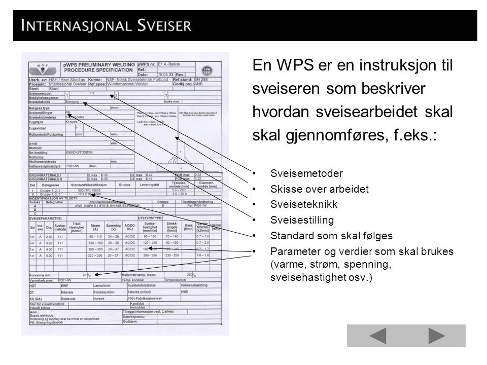 En WPS er en instruksjon til sveiseren som beskriver hvordan sveisearbeidet skal skal gjennomføres, f.eks.: Sveisemetoder Skisse over arbeidet Sveiset