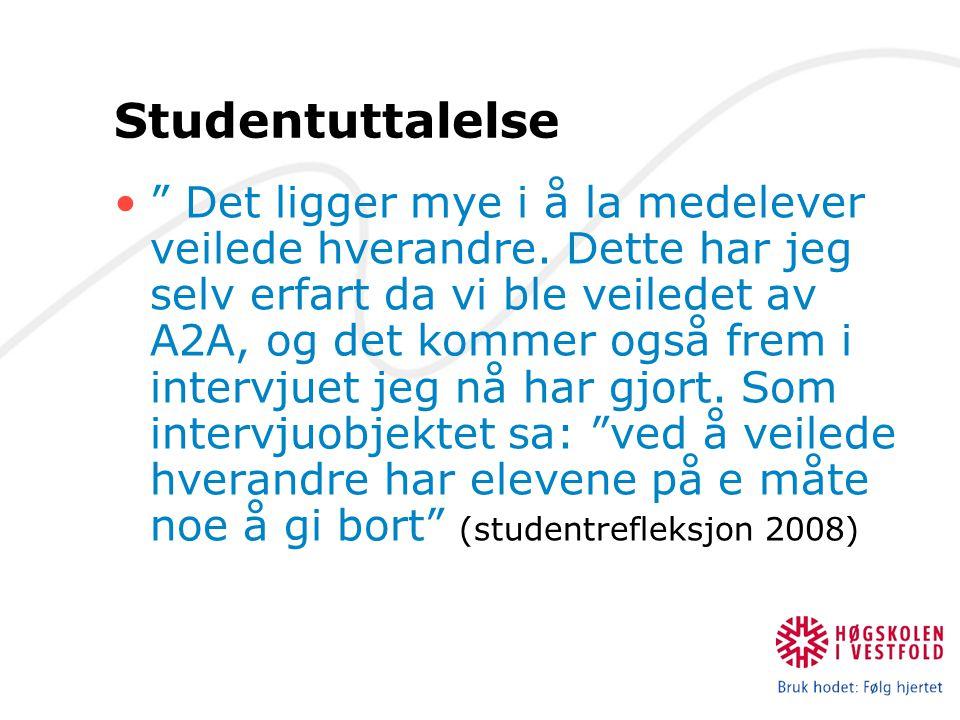 Studentuttalelse Det ligger mye i å la medelever veilede hverandre.