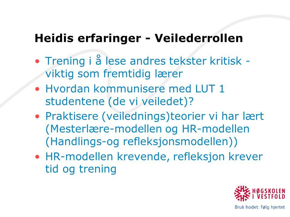 Heidis erfaringer - Veilederrollen Trening i å lese andres tekster kritisk - viktig som fremtidig lærer Hvordan kommunisere med LUT 1 studentene (de vi veiledet).