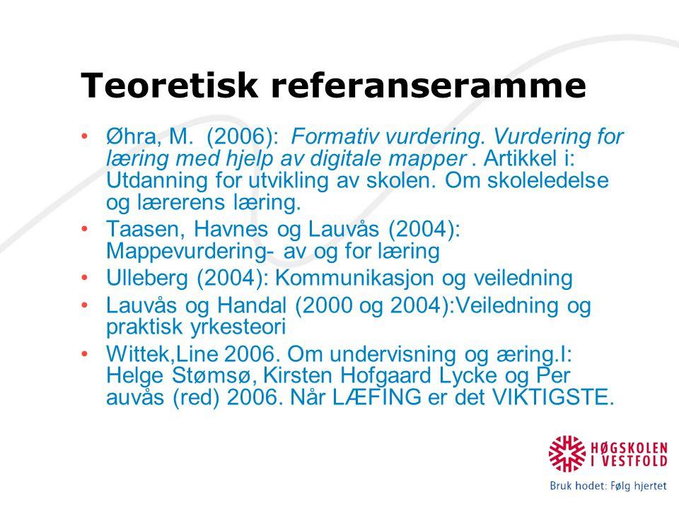 Teoretisk referanseramme Øhra, M. (2006): Formativ vurdering.