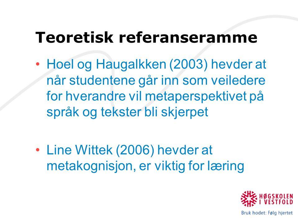 Teoretisk referanseramme Hoel og Haugalkken (2003) hevder at når studentene går inn som veiledere for hverandre vil metaperspektivet på språk og tekster bli skjerpet Line Wittek (2006) hevder at metakognisjon, er viktig for læring