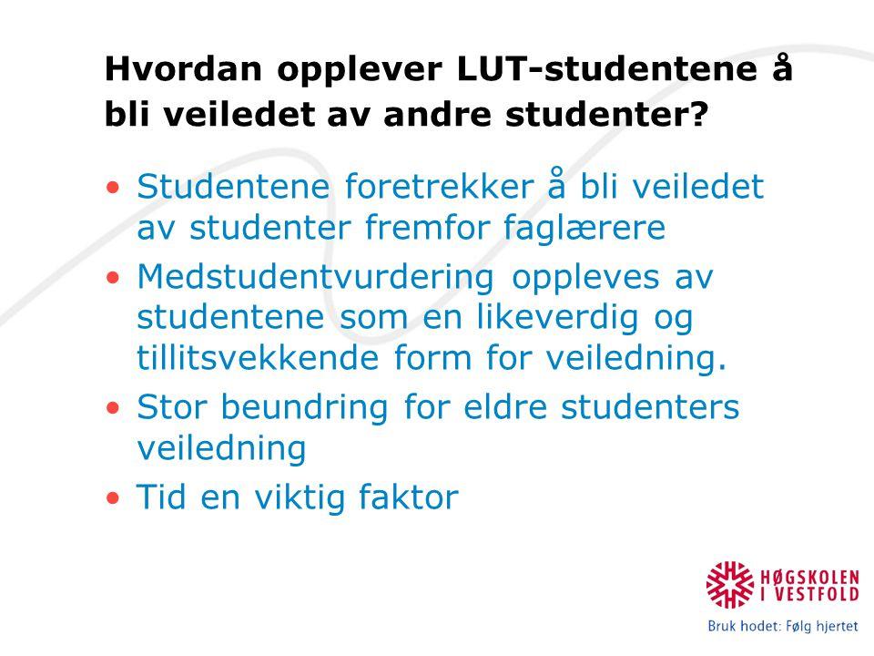 Hvordan opplever LUT-studentene å bli veiledet av andre studenter.