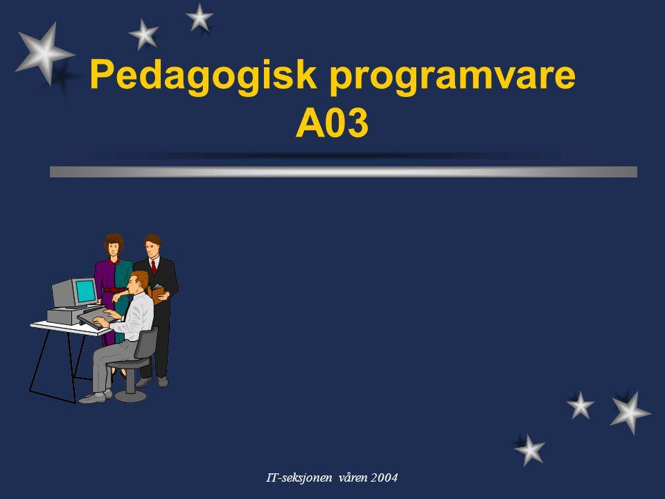 IT-seksjonen våren 2004 Program for pedprog I (4.feb) Hva er pedagogisk programvare.