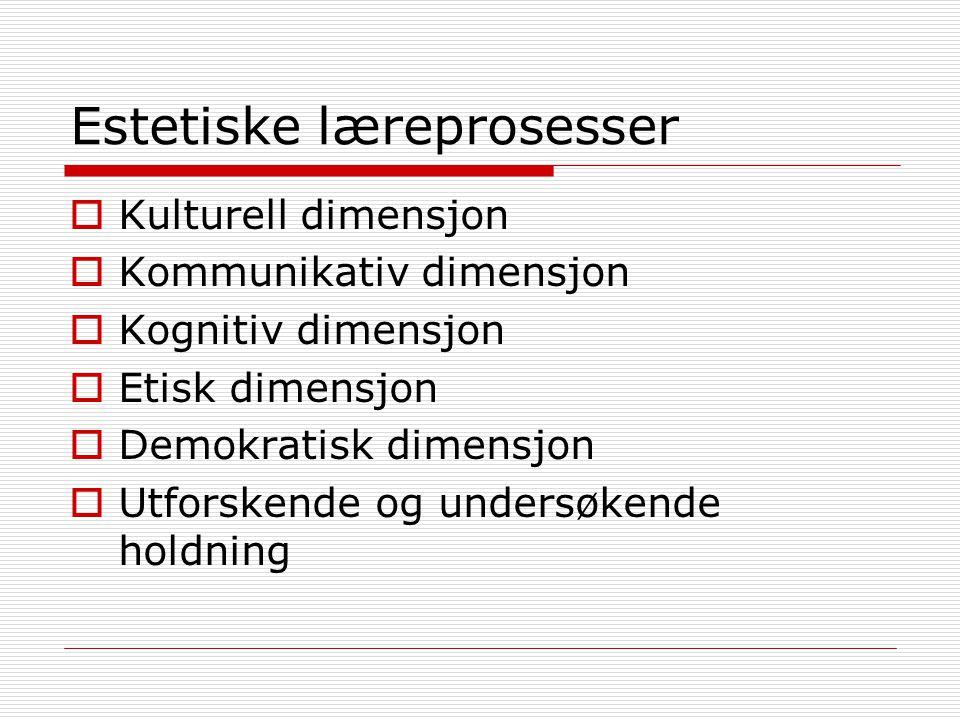 Estetiske læreprosesser  Kulturell dimensjon  Kommunikativ dimensjon  Kognitiv dimensjon  Etisk dimensjon  Demokratisk dimensjon  Utforskende og