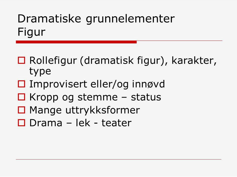 Dramatiske grunnelementer Figur  Rollefigur (dramatisk figur), karakter, type  Improvisert eller/og innøvd  Kropp og stemme – status  Mange uttryk