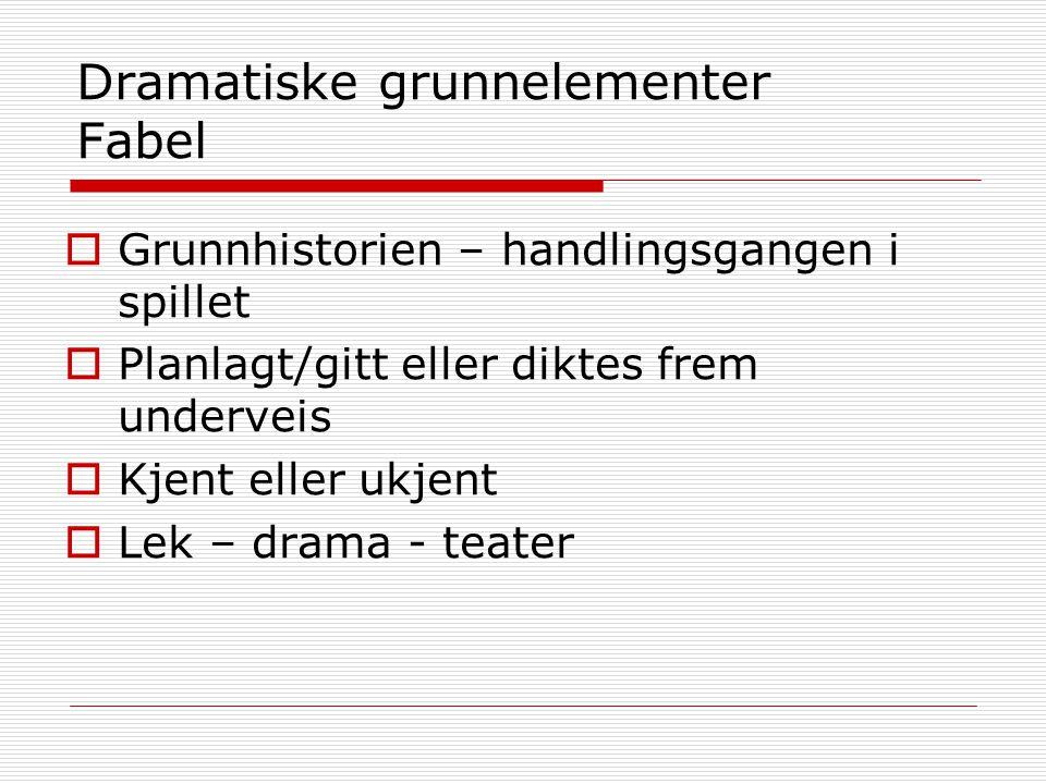 Dramatiske grunnelementer Fabel  Grunnhistorien – handlingsgangen i spillet  Planlagt/gitt eller diktes frem underveis  Kjent eller ukjent  Lek –