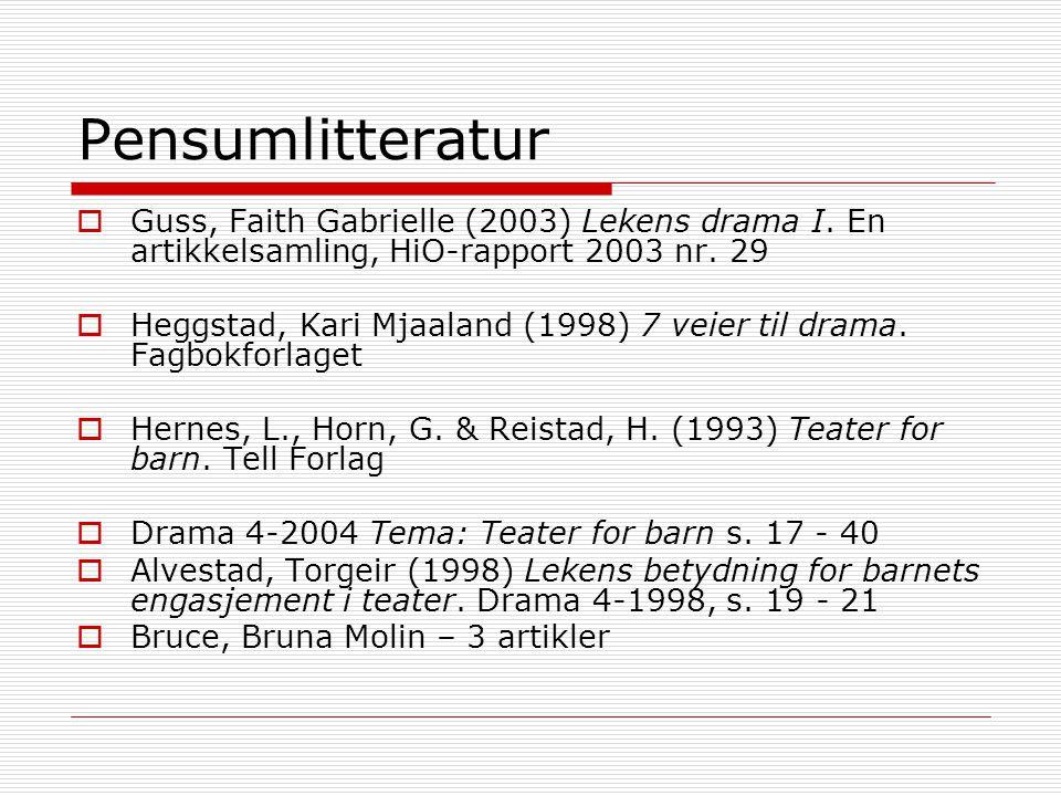 Pensumlitteratur  Guss, Faith Gabrielle (2003) Lekens drama I. En artikkelsamling, HiO-rapport 2003 nr. 29  Heggstad, Kari Mjaaland (1998) 7 veier t