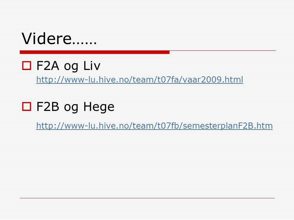 Videre……  F2A og Liv http://www-lu.hive.no/team/t07fa/vaar2009.html  F2B og Hege http://www-lu.hive.no/team/t07fb/semesterplanF2B.htm