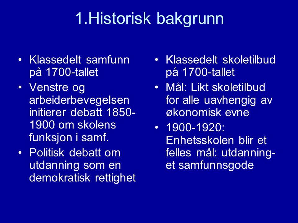 1.Historisk bakgrunn Klassedelt samfunn på 1700-tallet Venstre og arbeiderbevegelsen initierer debatt 1850- 1900 om skolens funksjon i samf. Politisk