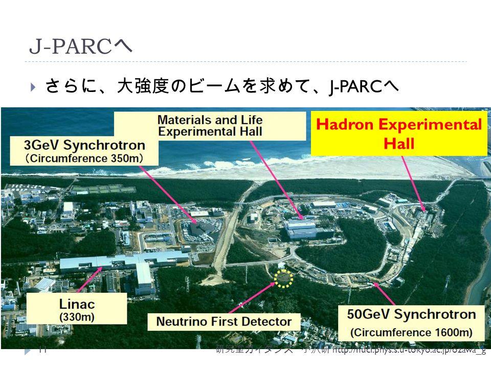 J-PARC へ  さらに、大強度のビームを求めて、 J-PARC へ 研究室ガイダンス 小沢研 http://nucl.phys.s.u-tokyo.ac.jp/ozawa_g 11 Hadron Experimental Hall