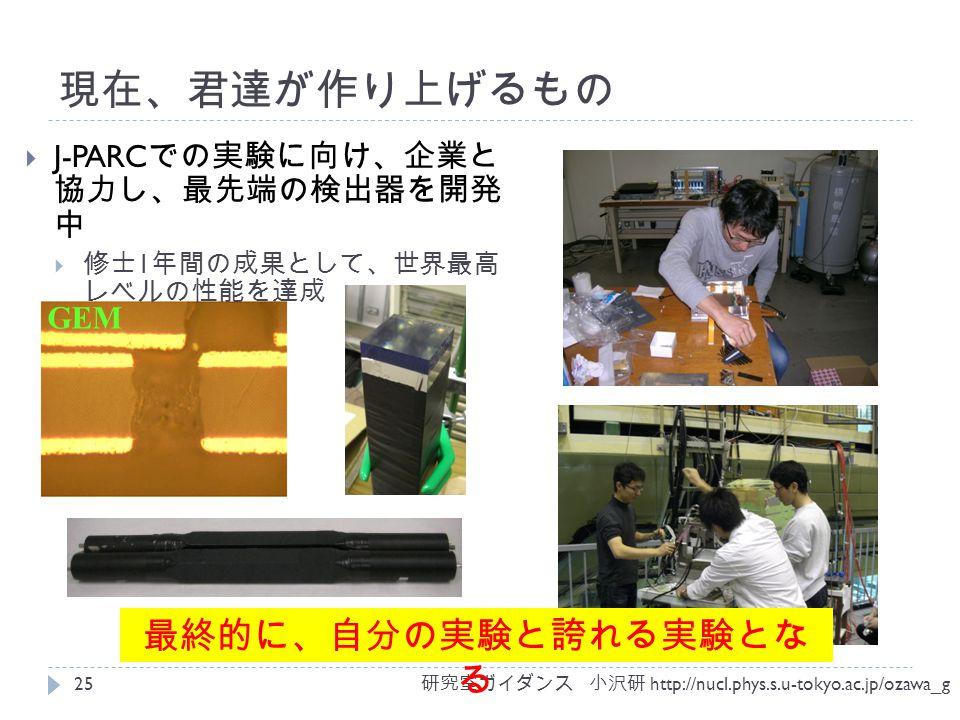 現在、君達が作り上げるもの GEM  J-PARC での実験に向け、企業と 協力し、最先端の検出器を開発 中  修士 1 年間の成果として、世界最高 レベルの性能を達成 研究室ガイダンス 小沢研 http://nucl.phys.s.u-tokyo.ac.jp/ozawa_g 25 最終的に、自分の実験と誇れる実験とな る