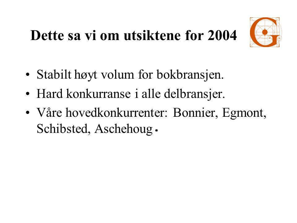 Forlagsentralen (50%) 200220032004 Driftsinntekter 83,189,284,4 Driftsresultat 7,714,413,7