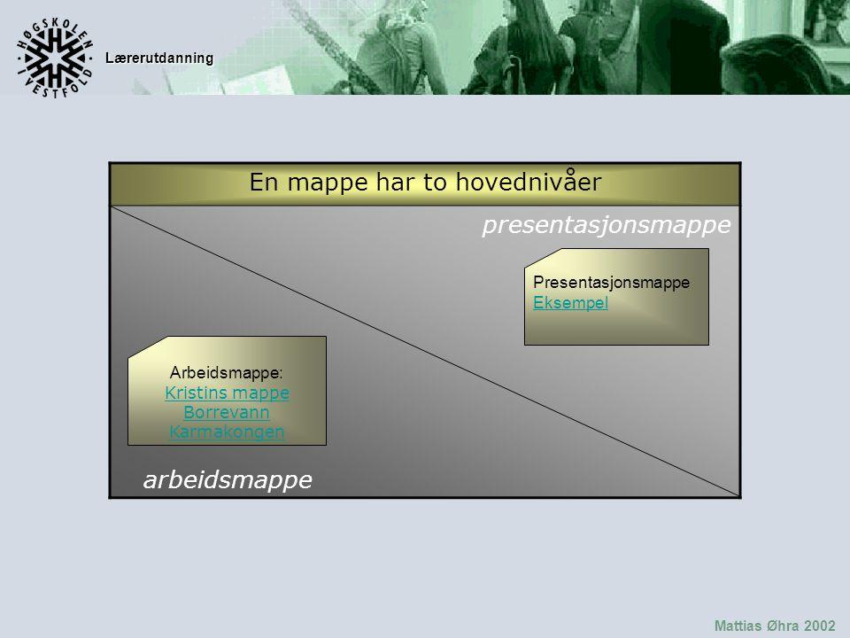 Lærerutdanning Mattias Øhra 2002 En mappe har to hovednivåer presentasjonsmappe arbeidsmappe Presentasjonsmappe Eksempel Eksempel Arbeidsmappe: Kristins mappe Kristins mappe Borrevann Karmakongen