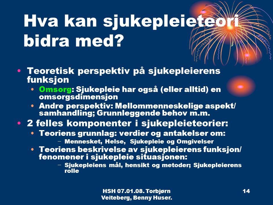 HSH 07.01.08.Torbjørn Veiteberg, Benny Huser. 14 Hva kan sjukepleieteori bidra med.