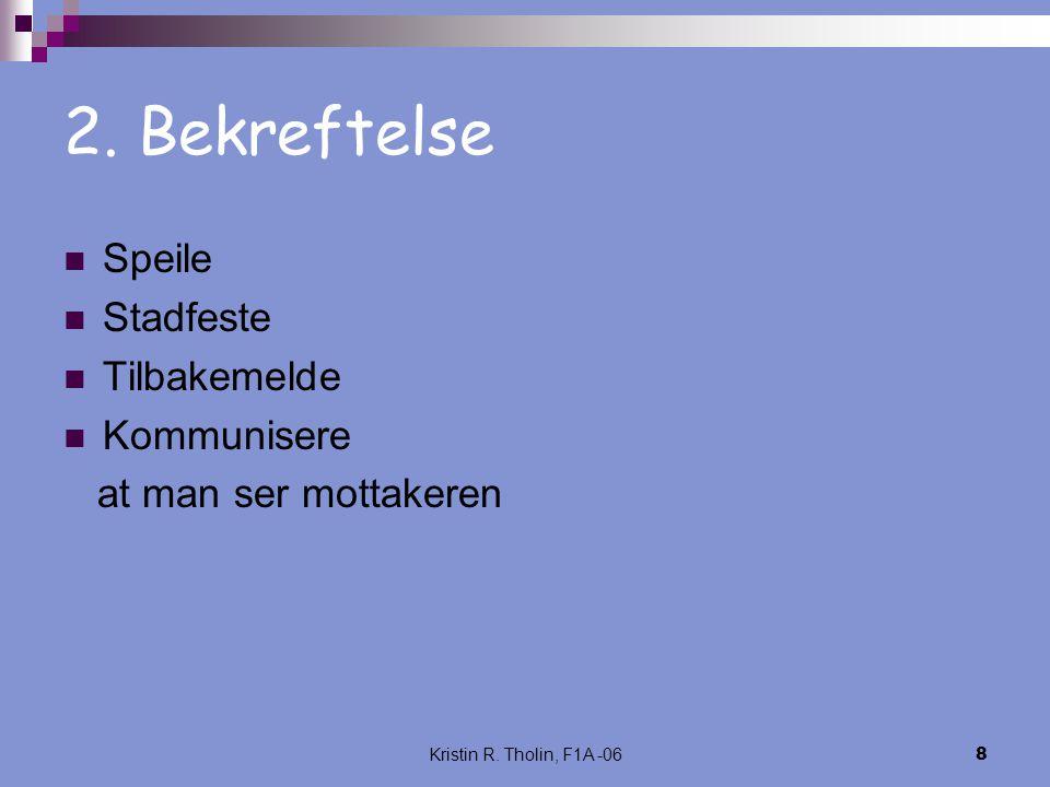 Kristin R. Tholin, F1A -068 2. Bekreftelse Speile Stadfeste Tilbakemelde Kommunisere at man ser mottakeren